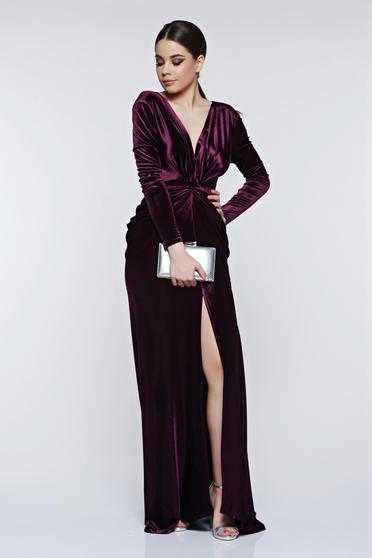 Ana Radu purple dress evening dresses velvet mermaid with deep cleavage