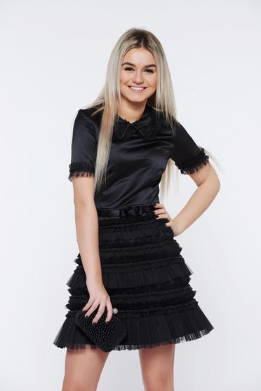 Ana Radu black dress occasional cloche with small beads embellished details from satin fabric texture