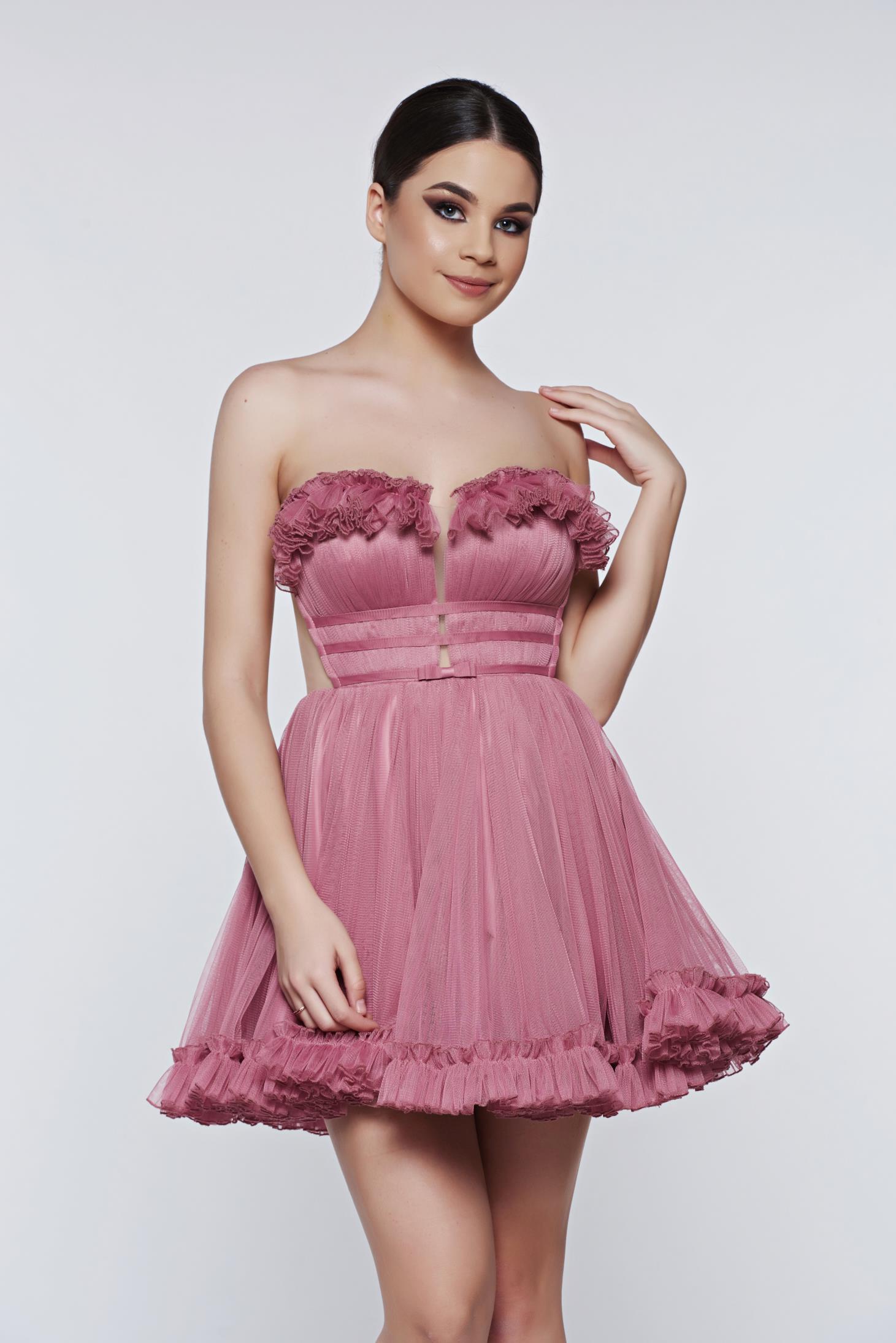 dba52b2471 Rózsaszínű Ana Radu alkalmi ruha tüll masni díszítéssel
