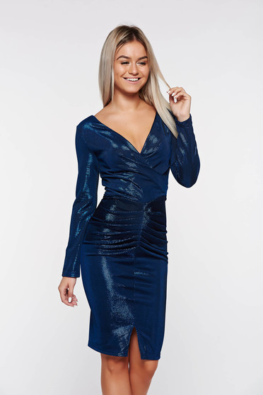Artista darkblue dress occasional with inside lining from shiny fabric with v-neckline