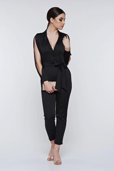 PrettyGirl black jumpsuit elegant with cut-out sleeves with deep cleavage