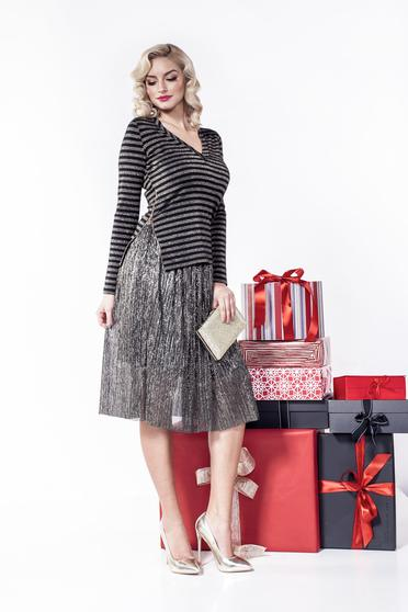 PrettyGirl black women`s blouse with v-neckline with metallic aspect with stripes