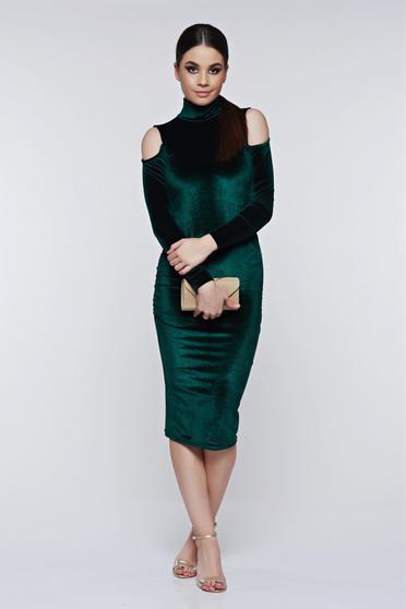 PrettyGirl darkgreen dress both shoulders cut out elegant from velvet pencil