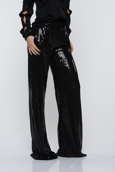 PrettyGirl black trousers with sequins high waisted with pockets flared