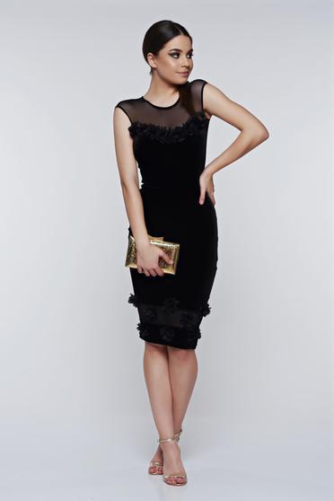 Fofy black dress occasional pencil from velvet