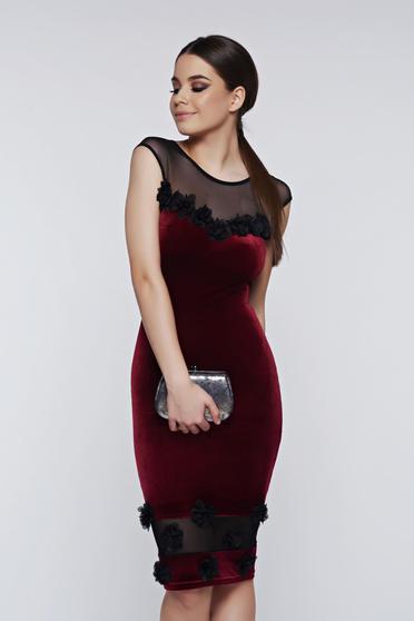 Fofy burgundy dress occasional pencil from velvet