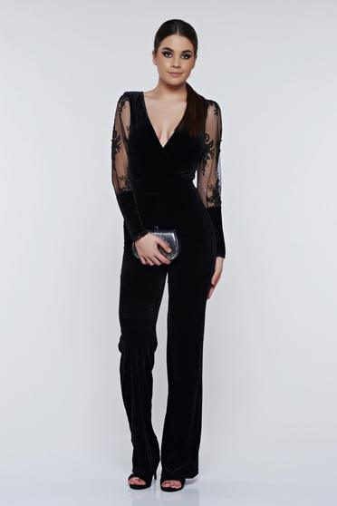 Fofy black jumpsuit occasional velvet with laced sleeves