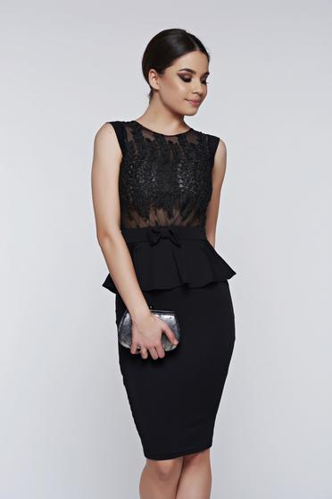 Fofy black dress occasional frilled pencil