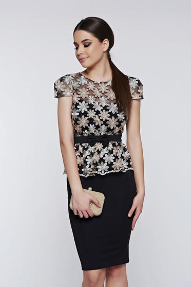 Fofy black dress occasional pencil with lace details