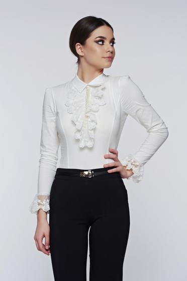 Fofy white women`s shirt elegant elastic cotton with lace details
