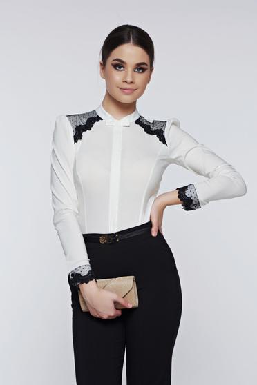 Fofy white women`s shirt cotton elegant with lace details