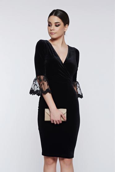 Fofy black dress occasional pencil velvet