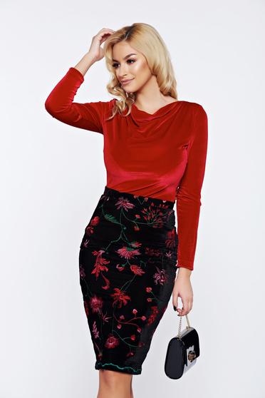 StarShinerS red elegant velvet women`s blouse with large collar