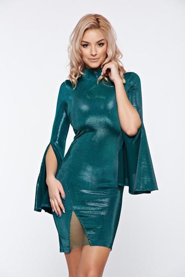 Artista green dress occasional short with bell sleeve
