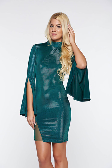 Artista green dress short cut with bell sleeve from shiny fabric clubbing