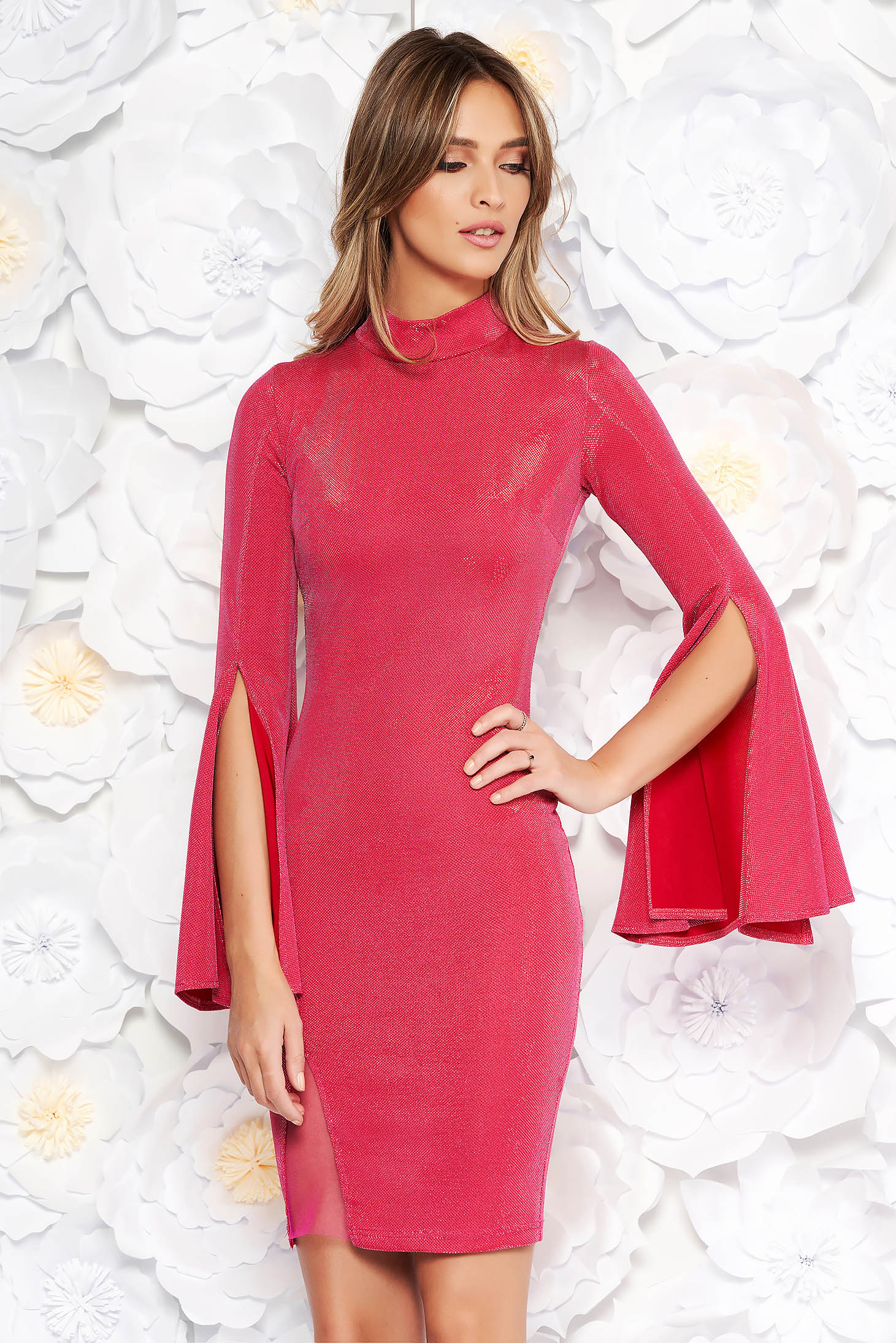 Artista pink dress short cut with bell sleeve from shiny fabric clubbing