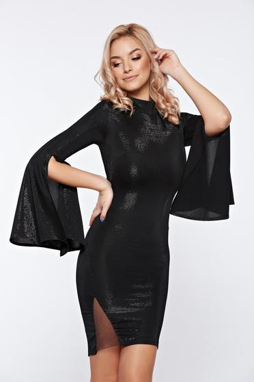 Artista black dress short cut with bell sleeve from shiny fabric clubbing