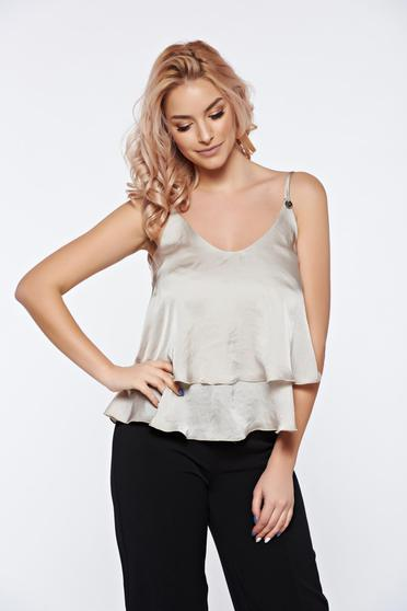 PrettyGirl nude top shirt short flared from satin fabric texture