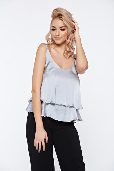 PrettyGirl grey top shirt short flared from satin fabric texture