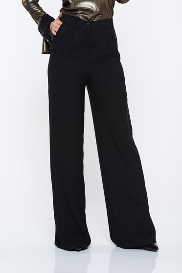 PrettyGirl black trousers high waisted flared with pockets