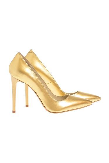 Gold shoes natural leather stiletto with high heels