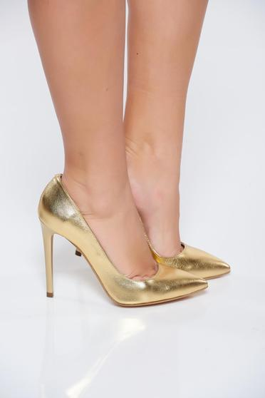 Gold shoes natural leather stiletto with high heels slightly pointed toe tip