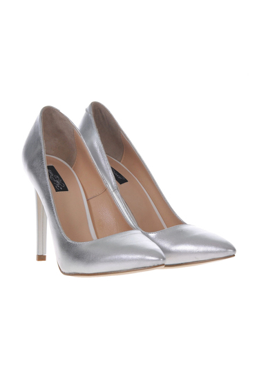 Silver shoes natural leather stiletto with high heels