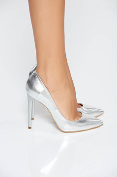 Silver shoes natural leather stiletto with high heels slightly pointed toe tip
