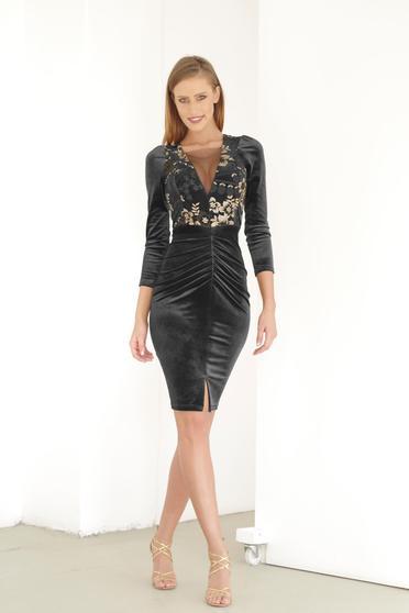 Artista black dress occasional embroidered with v-neckline