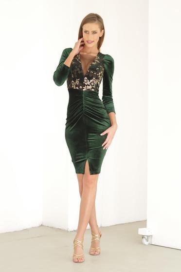 Artista darkgreen dress occasional embroidered with v-neckline