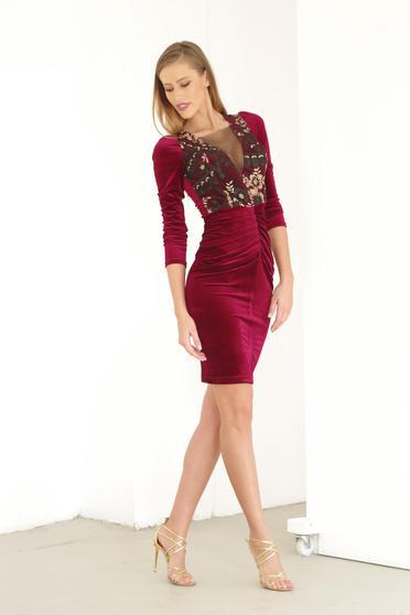 Artista burgundy dress occasional embroidered with v-neckline