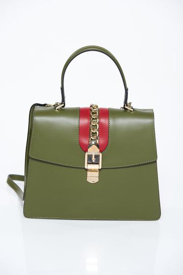 Darkgreen bag office natural leather metallic chain accessory