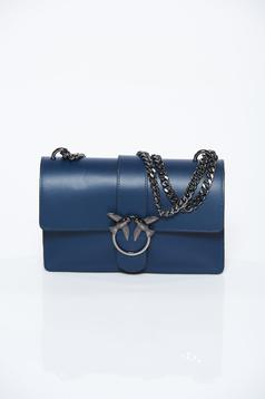 Darkblue bag casual natural leather with metalic accessory