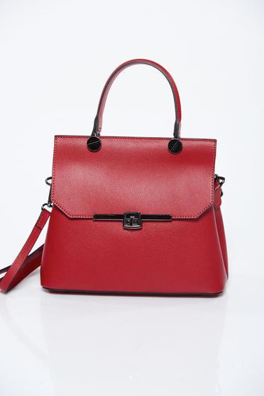 Burgundy bag natural leather long, adjustable handle office