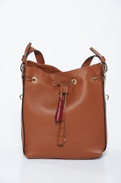 Brown bag office with laced details natural leather