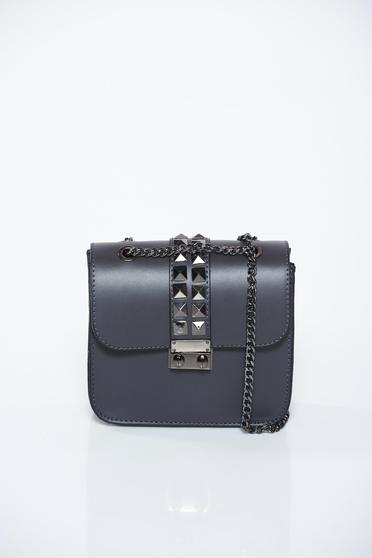 Darkgrey bag casual natural leather with metallic spikes