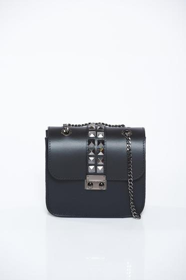 Black bag casual natural leather with metallic spikes