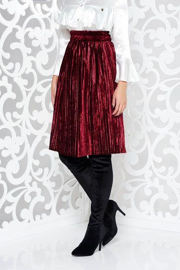 Artista burgundy skirt from velvet with elastic waist folded up elegant cloche