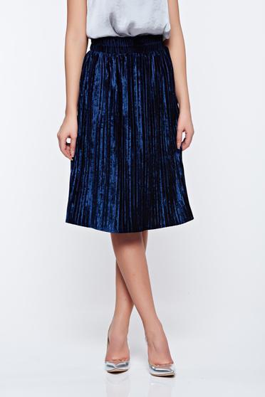 Artista darkblue skirt clubbing from velvet with elastic waist folded up