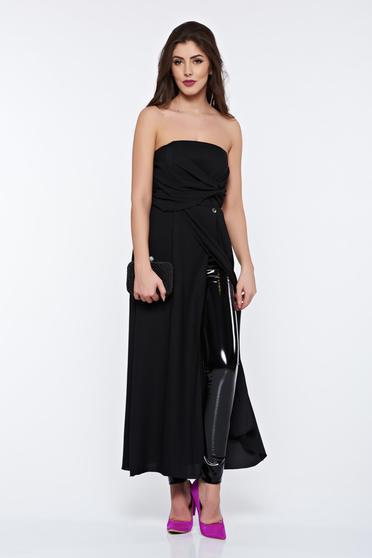 PrettyGirl black women`s blouse clubbing long from veil fabric off shoulder