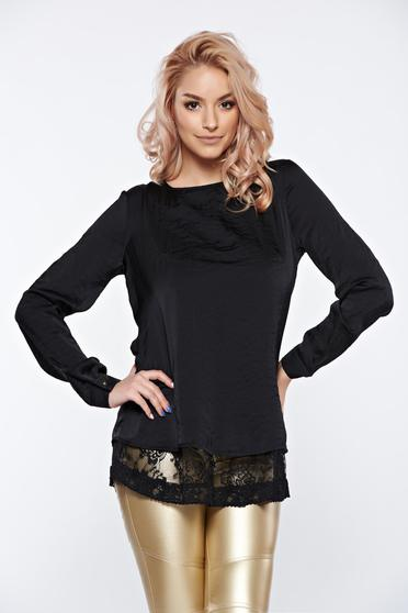 PrettyGirl black women`s blouse elegant from satin fabric texture flared