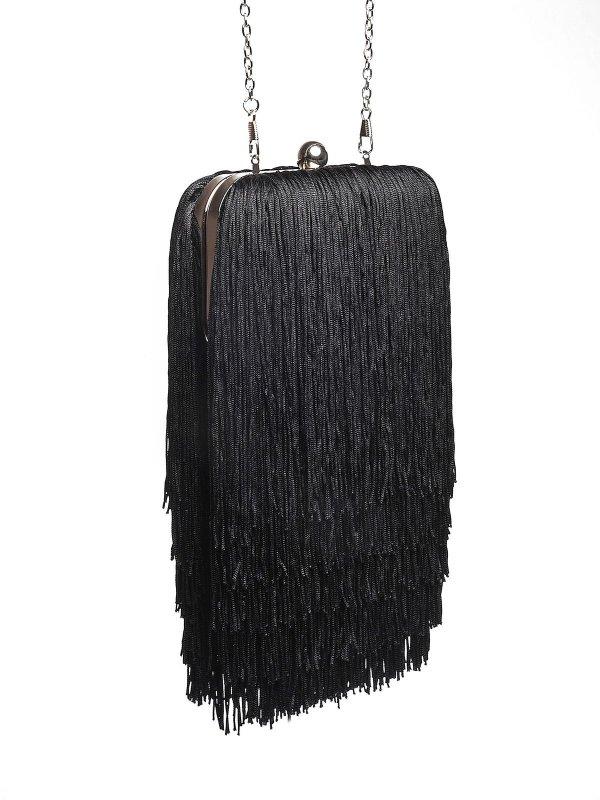 Geanta dama Top Secret neagra plic eleganta cu franjuri
