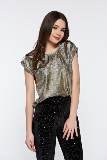 Top Secret gold women`s blouse clubbing flared with metallic aspect