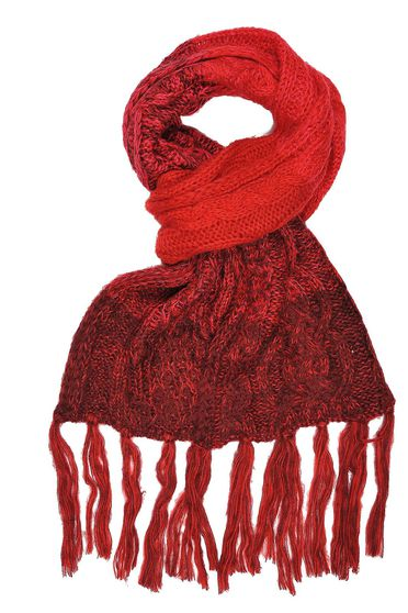 Top Secret burgundy scarf casual knitted with fringes