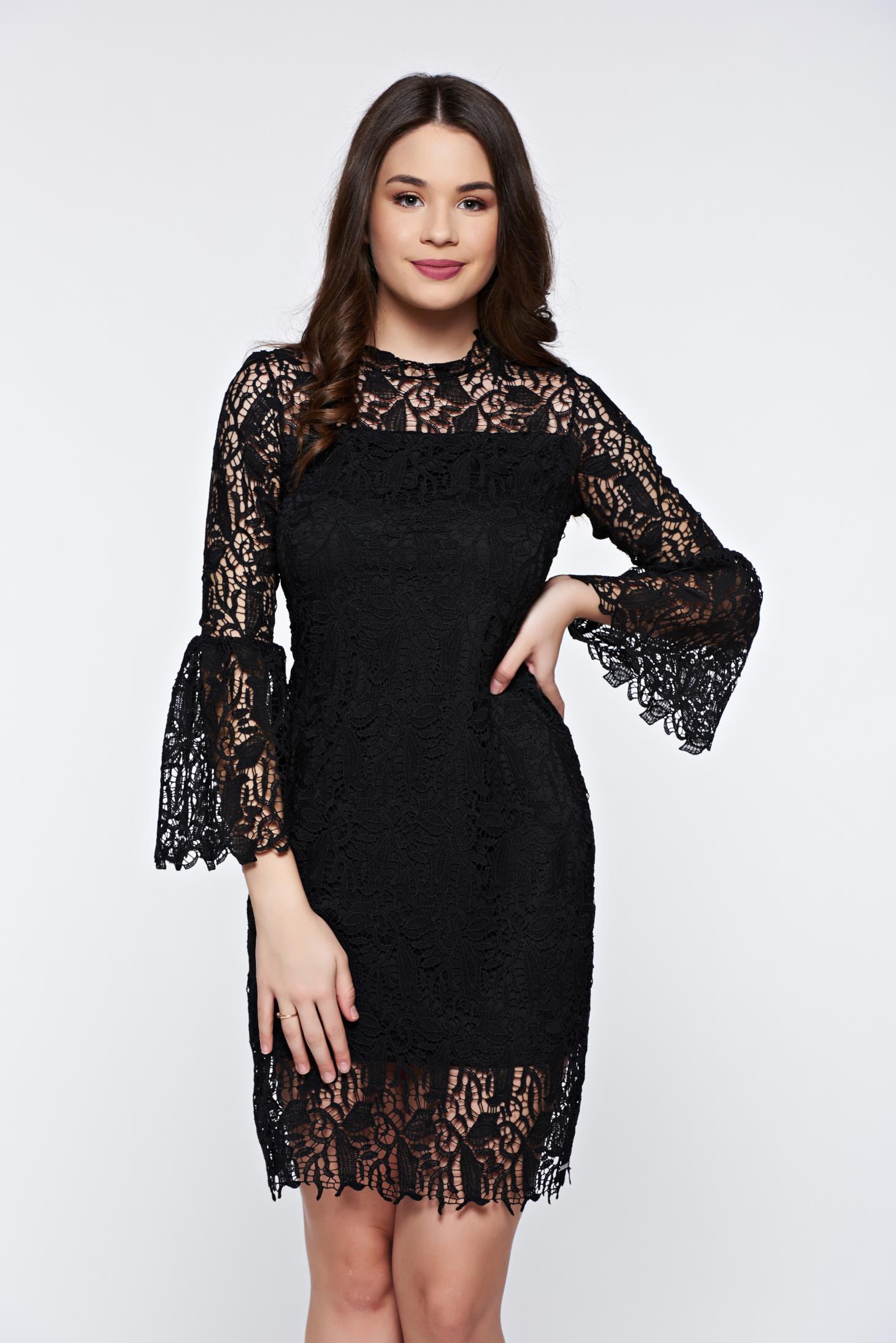 Fekete Top Secret elegáns csipke ruha harang ujjakkal 62cbc9150b