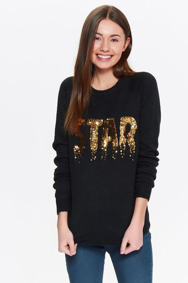 Top Secret black sweater with sequin embellished details casual flared