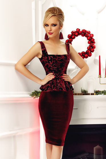 Fofy burgundy occasional pencil frilled dress with sequin embellished details