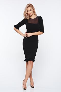 Fofy black dress elegant with tented cut from elastic and fine fabric