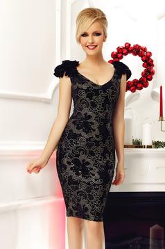 Fofy black occasional velvet pencil dress with sequin embellished details