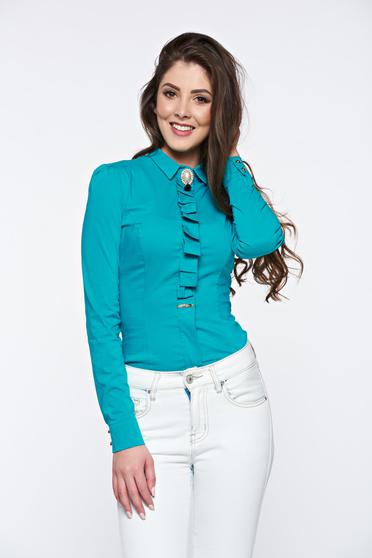 Fofy office accessorized with breastpin turquoise women`s shirt